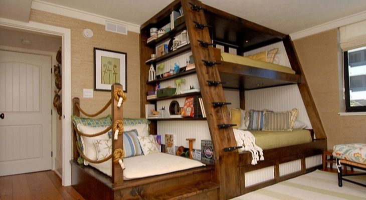 Bookcase attached to the bunker beds