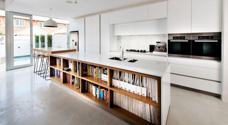 Island bookshelf small house makeover home renovation