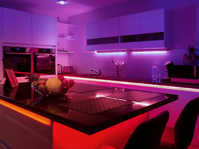 Purple Lighting on the Suspended Ceiling of the Living Room or Kitchen